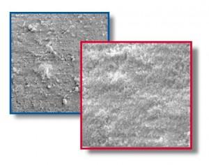 Zeolith von zwei Herstellern, gleicher Typ: Charakteristische Unterschiede der Oberfläche bei 500-facher Vergrößerung.